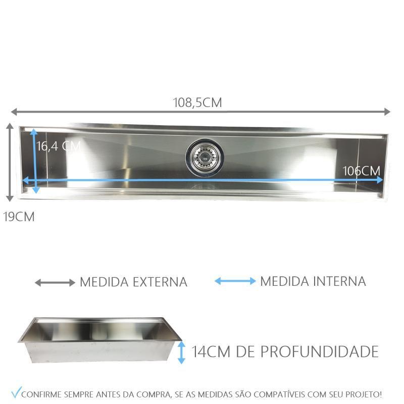 Canal Úmido 105cm Com 5 Acessórios