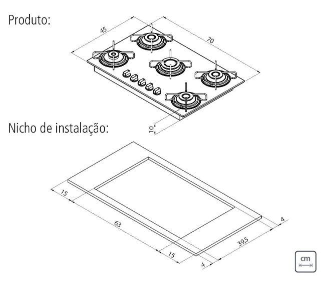 Cooktop Tramontina Gas  Glass Brasil 5GG 70 Bi-Volt  - DOTEC SHOP