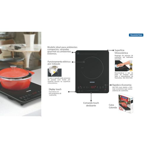 Cooktop Tramontina Indução Slim Touck EI30 127w  - DOTEC SHOP