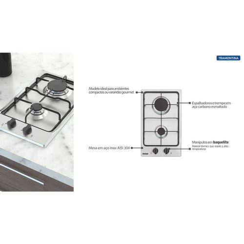 Cooktop Tramontina Inox Dominó Gas 2GX 30  - DOTEC SHOP