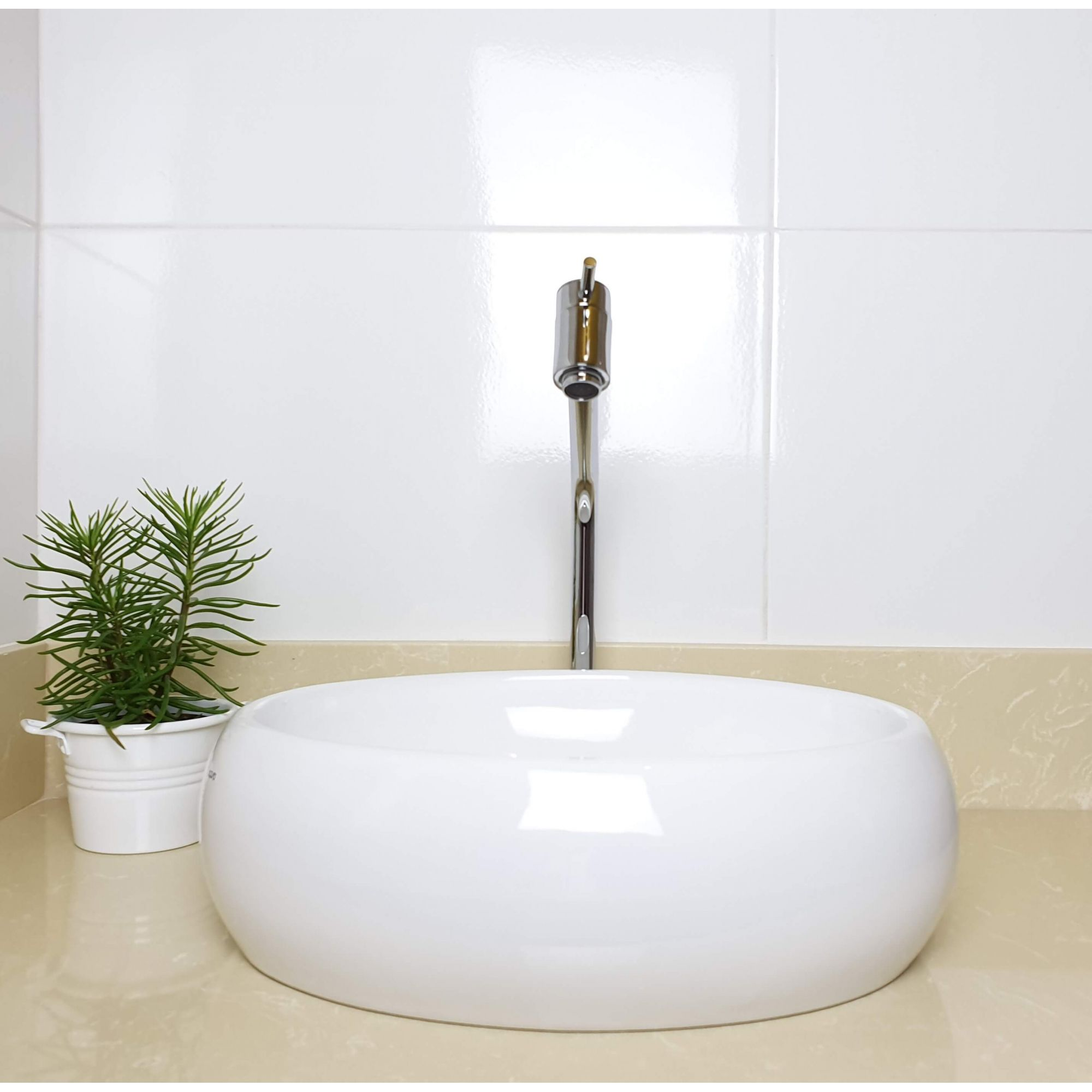 Cuba Banheiro Apoio Oval 40x30cm com Torneira Bica Baixa,  Válvula Click  Sifão e Flexível  - DOTEC SHOP