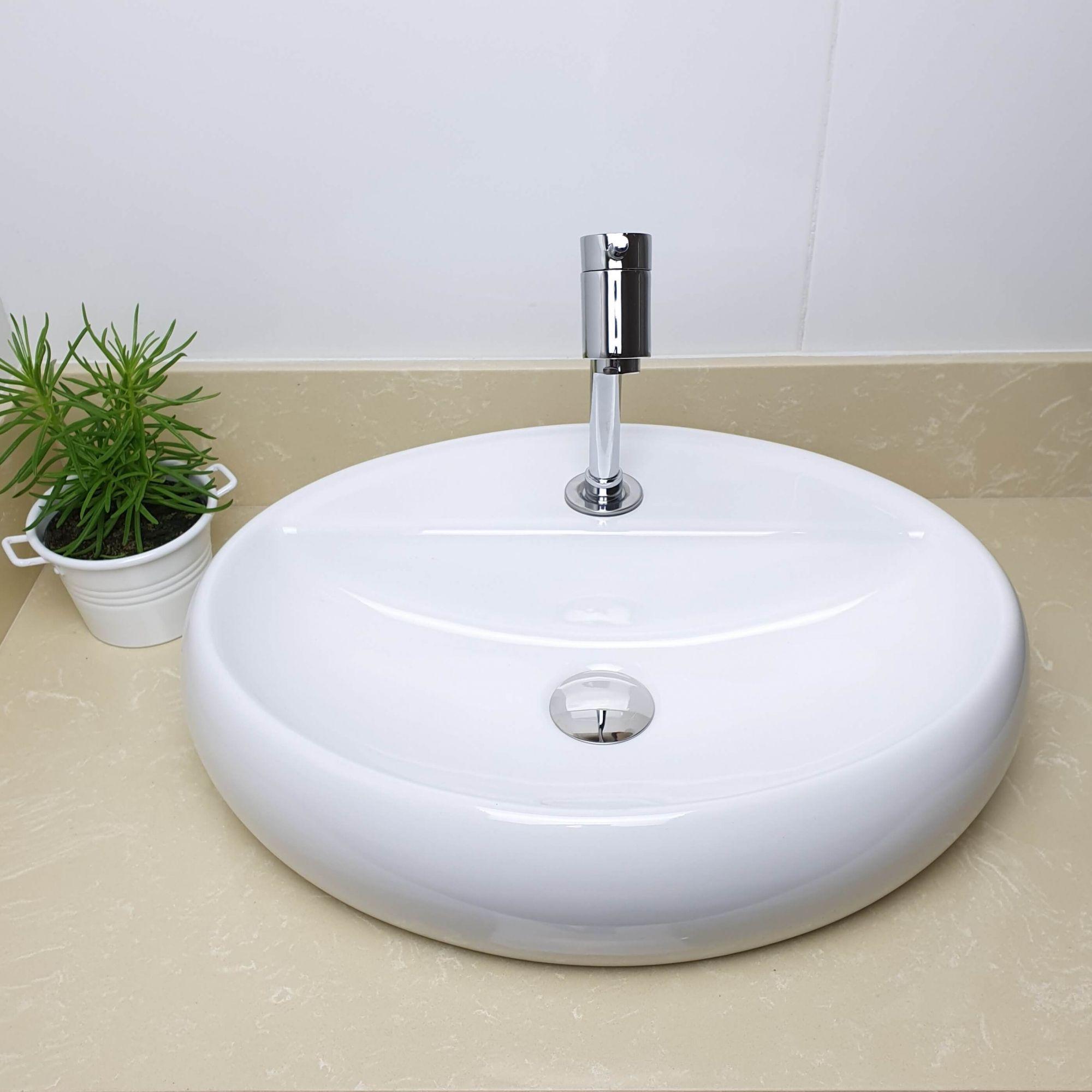 Cuba Banheiro Apoio Oval 49x38cm com Torneira Bica Baixa,  Válvula Click  Sifão e Flexível  - DOTEC SHOP