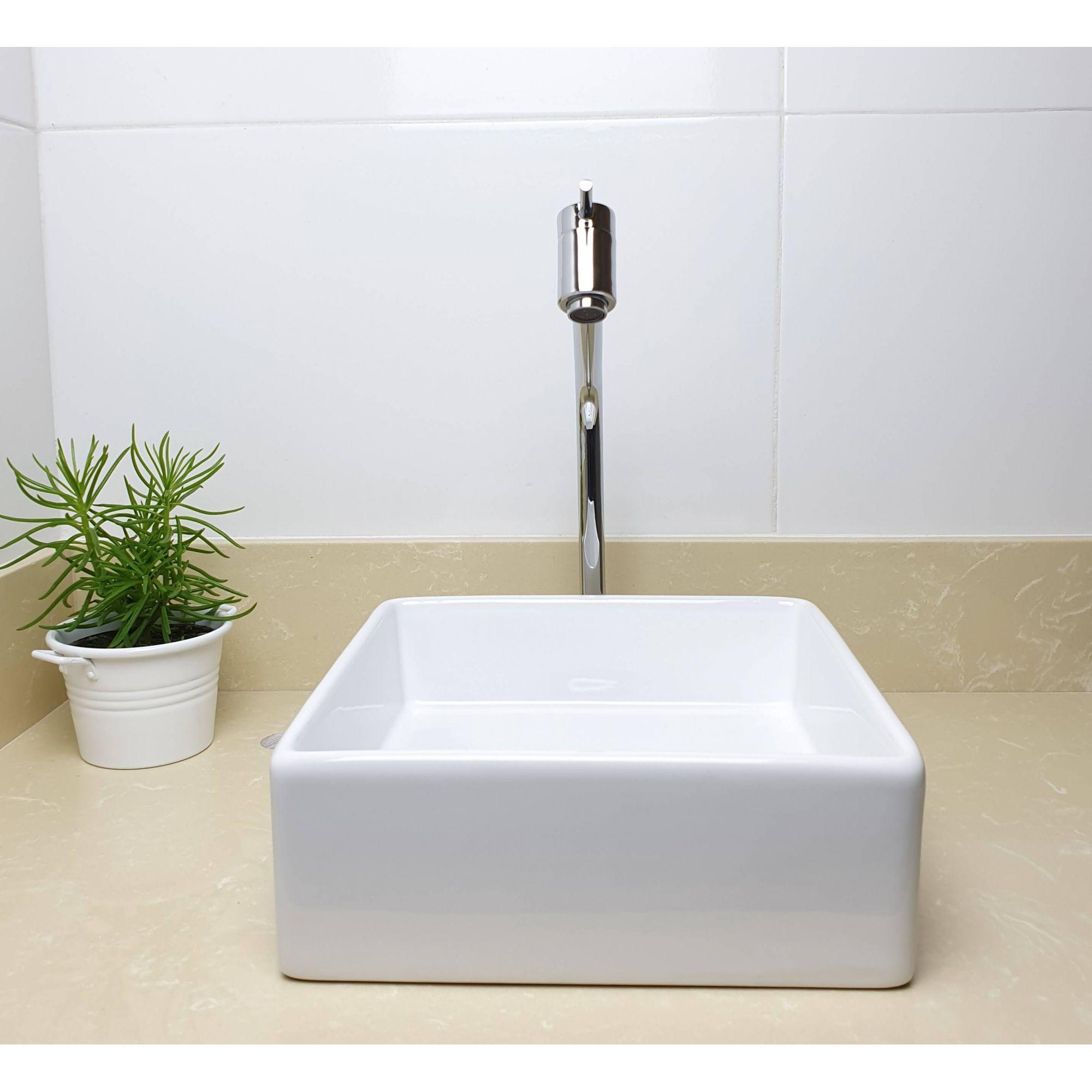 Cuba Banheiro Apoio Quadrada 30x30cm com Torneira Bica Alta,  Válvula Click  Sifão e Flexível  - DOTEC SHOP