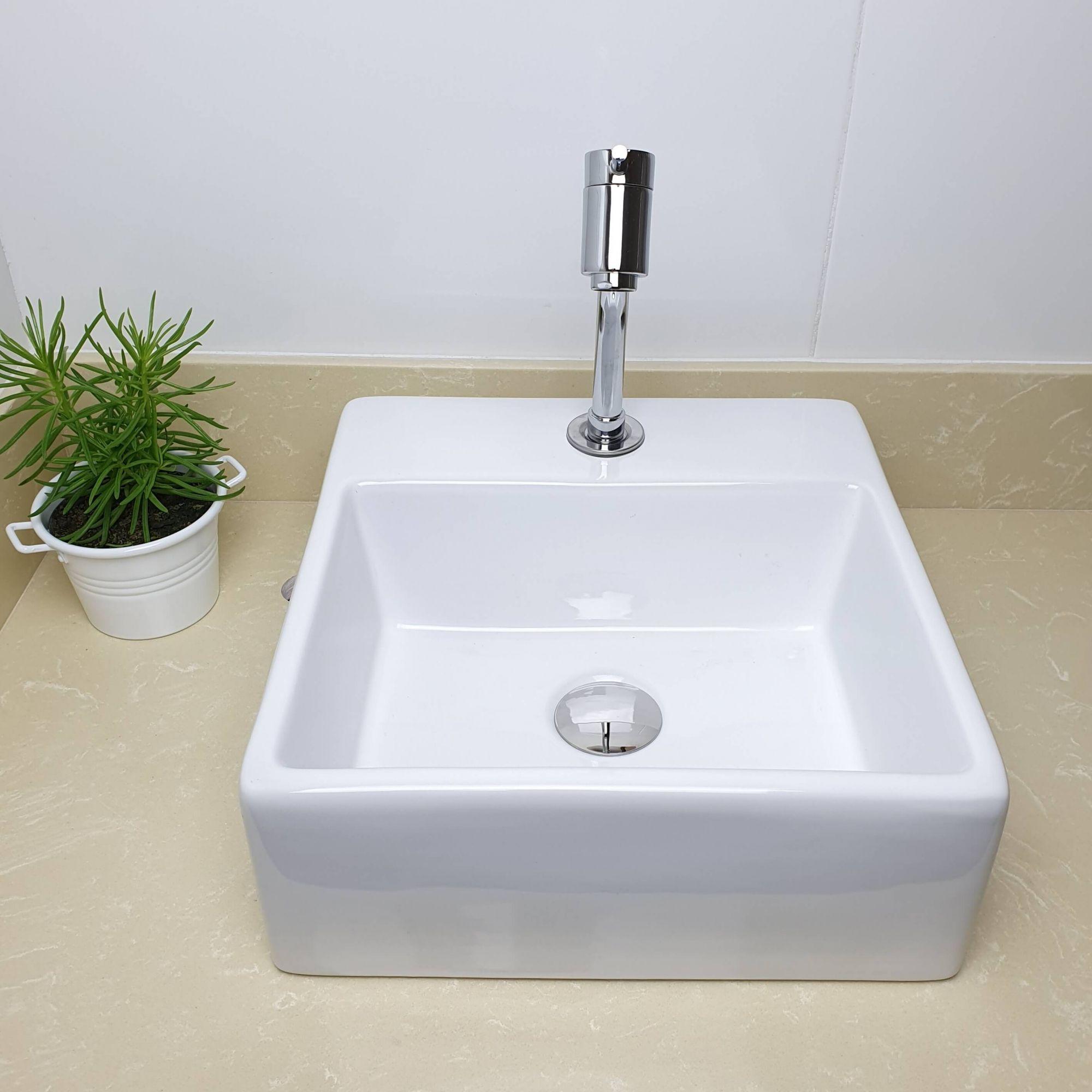 Cuba Banheiro Apoio Quadrada 35x35cm com Torneira Bica Baixa,  Válvula Click  Sifão e Flexível  - DOTEC SHOP