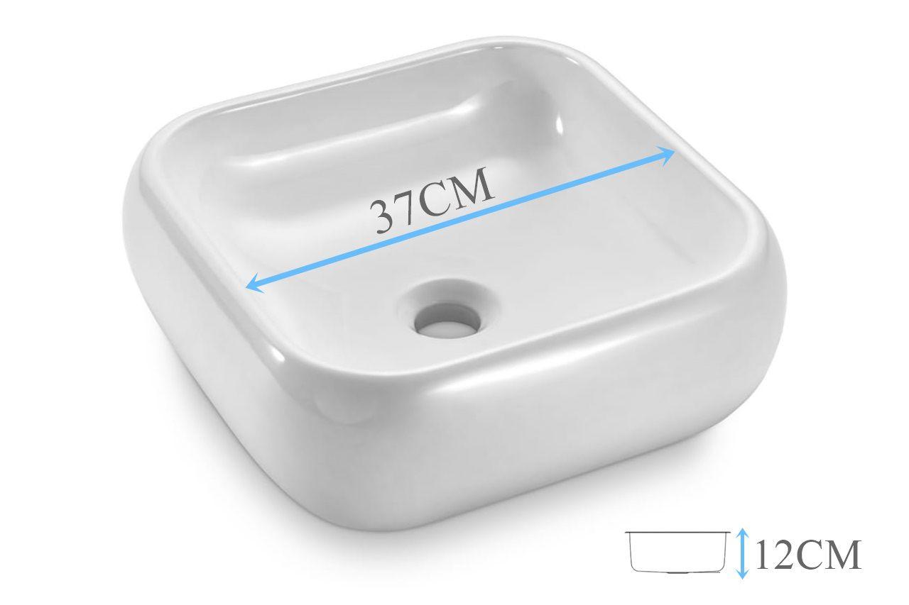 Cuba Banheiro Apoio Quadrada 37x37cm com Torneira Bica Alta,  Válvula Click  Sifão e Flexível  - DOTEC SHOP