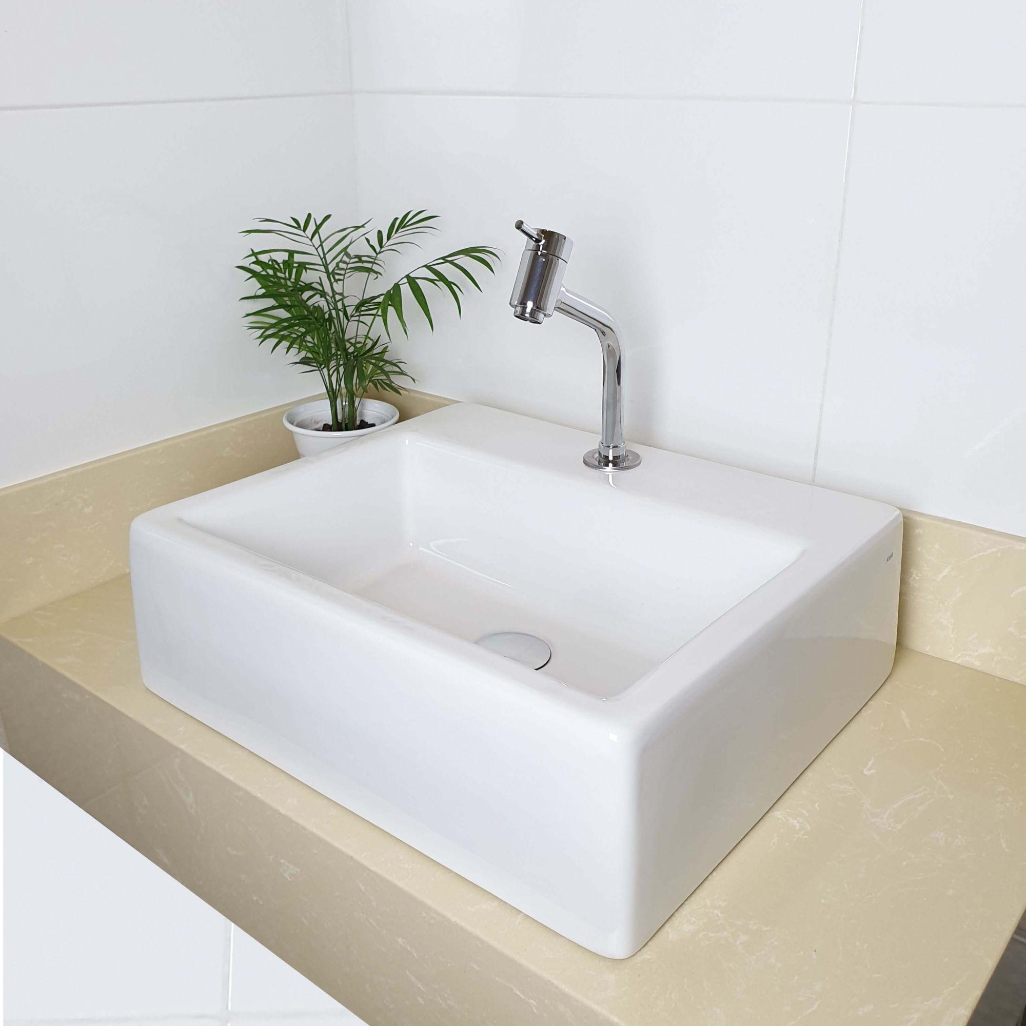Cuba Banheiro Apoio Quadrada 47x40cm com Torneira Bica Baixa,  Válvula Click  Sifão e Flexível  - DOTEC SHOP