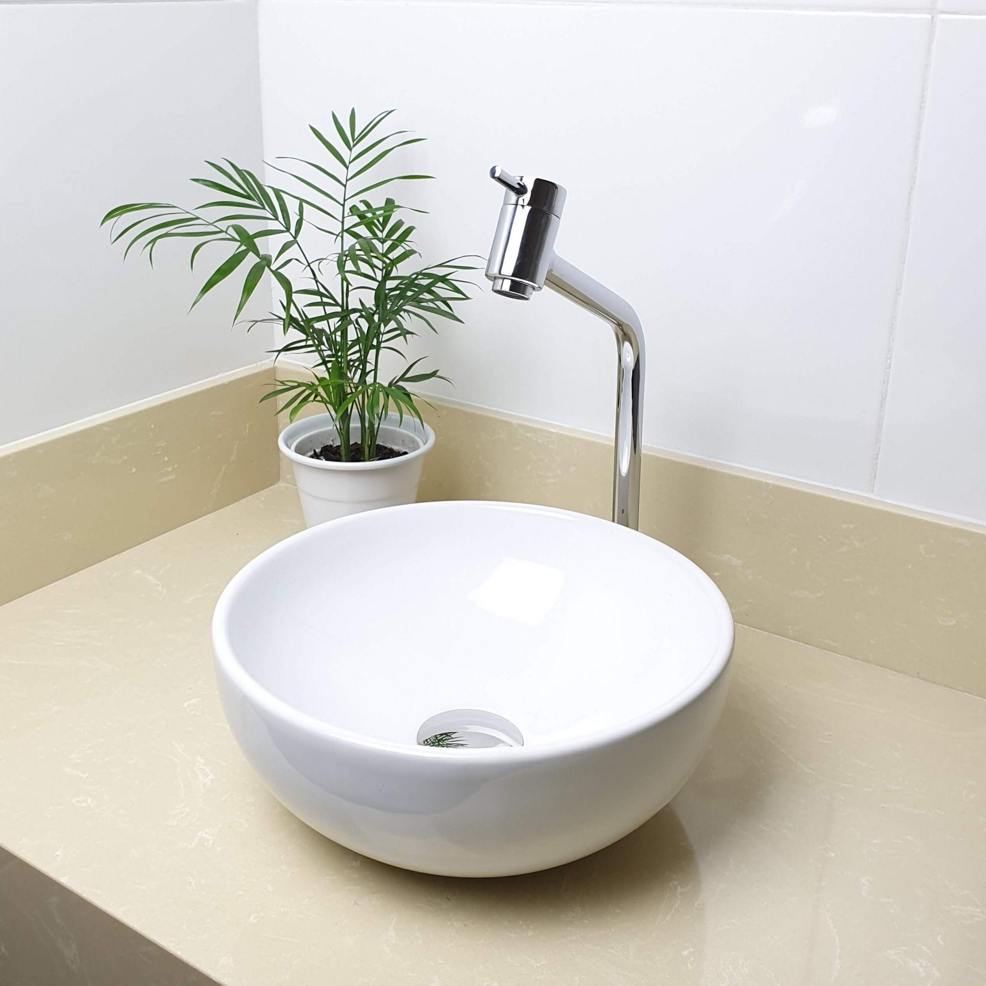 Cuba Banheiro Apoio Redonda 30x12cm com Torneira Bica Alta,  Válvula Click  Sifão e Flexível  - DOTEC SHOP