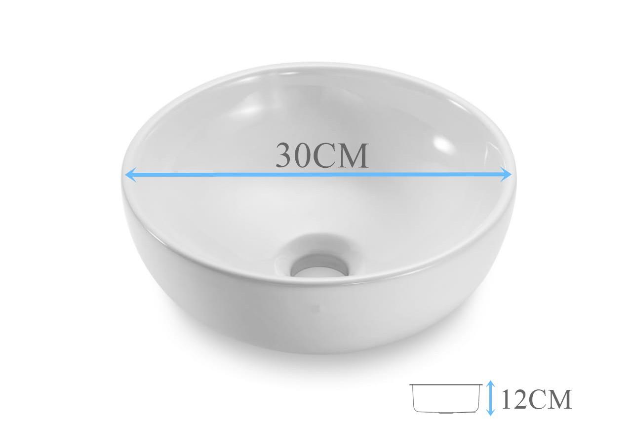 Cuba Banheiro Apoio Redonda 30x12cm com Válvula Click