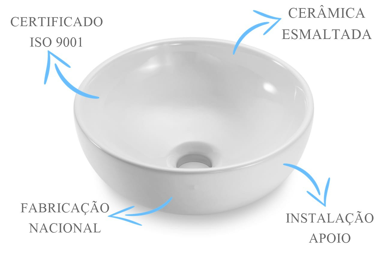 Cuba Banheiro Apoio Redonda 30x12cm com Válvula Click  - DOTEC SHOP