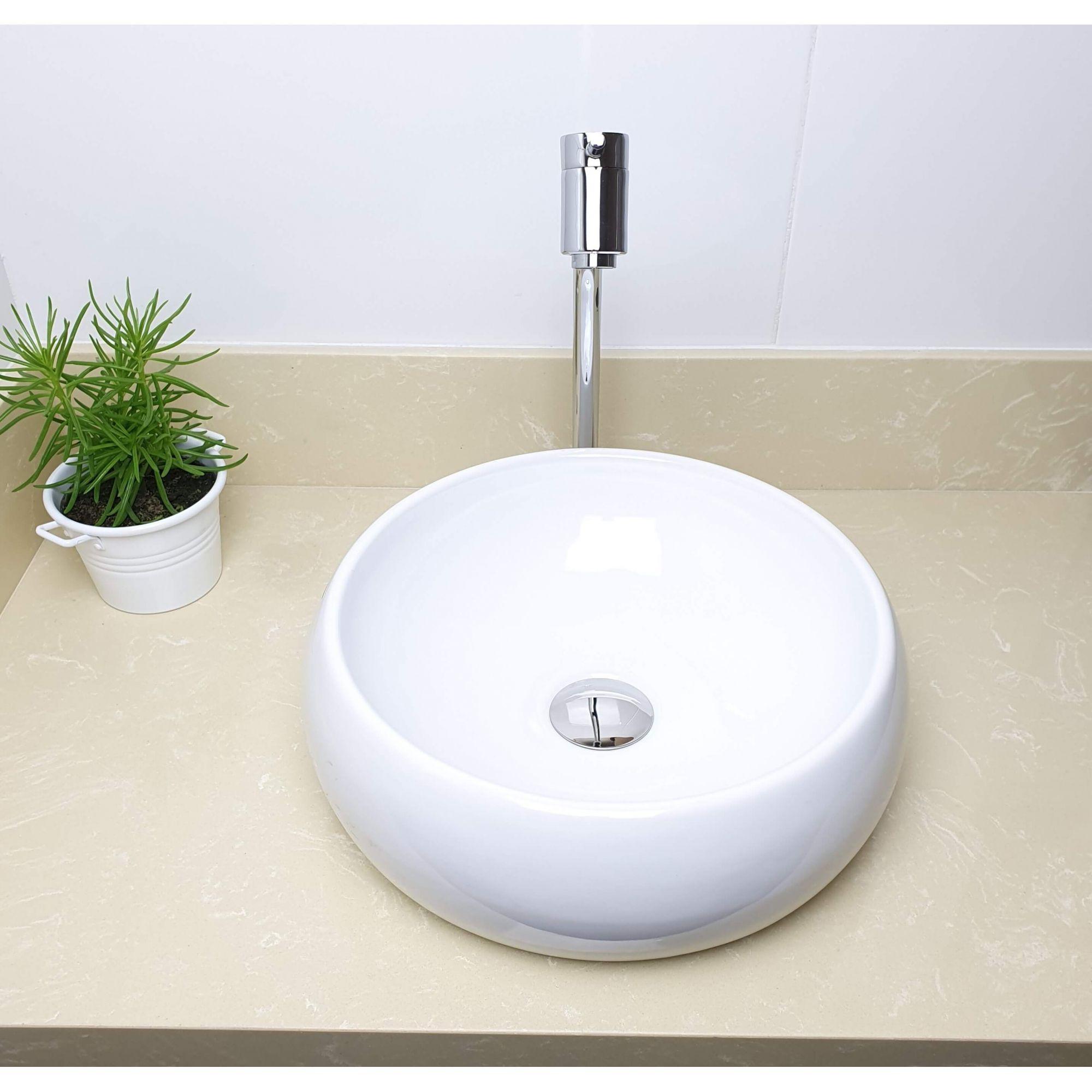 Cuba Banheiro Apoio Redonda 36x12cm com Torneira Bica Alta,  Válvula Click  Sifão e Flexível  - DOTEC SHOP
