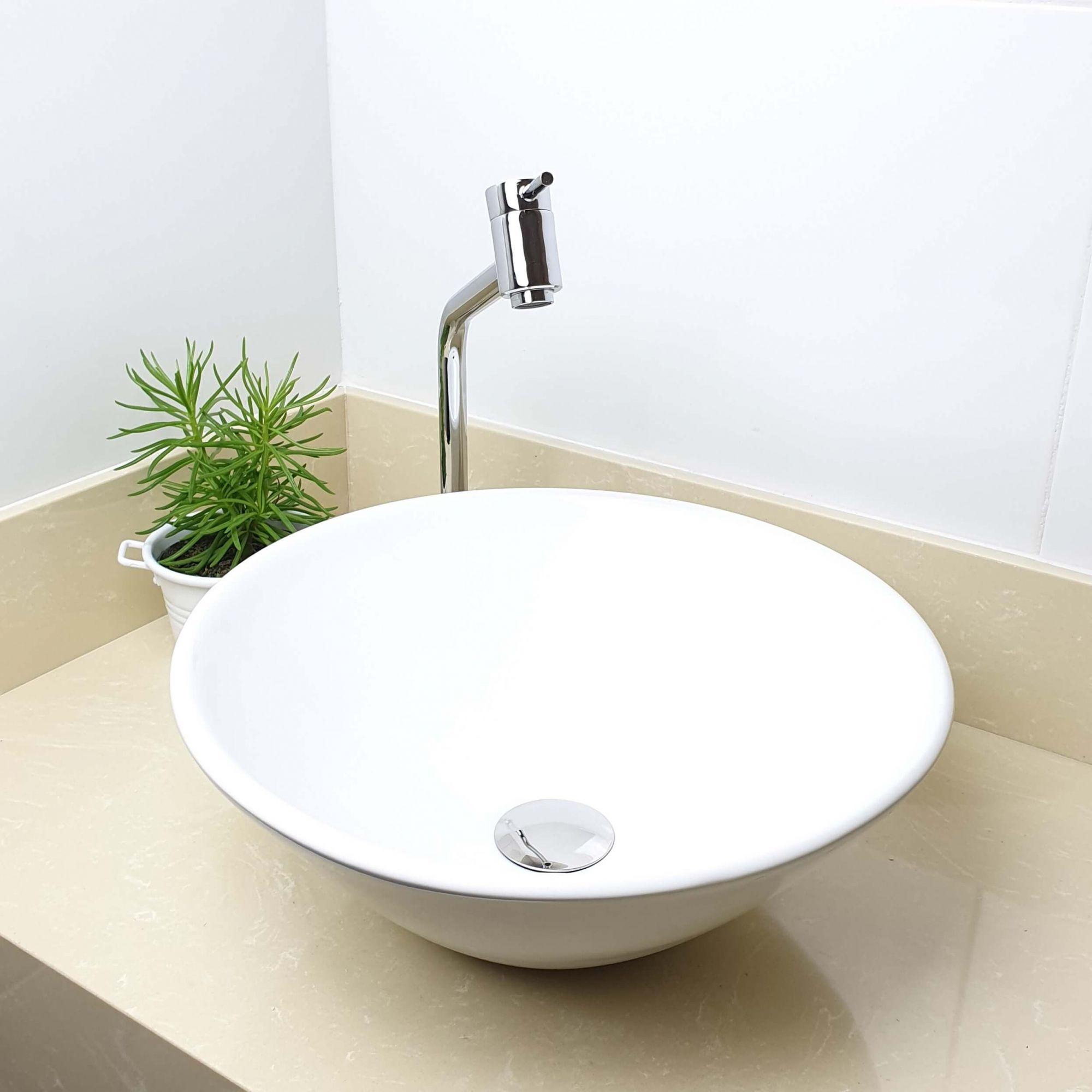 Cuba Banheiro Apoio Redonda 38x16cm com Torneira Bica Alta,  Válvula Click  Sifão e Flexível  - DOTEC SHOP