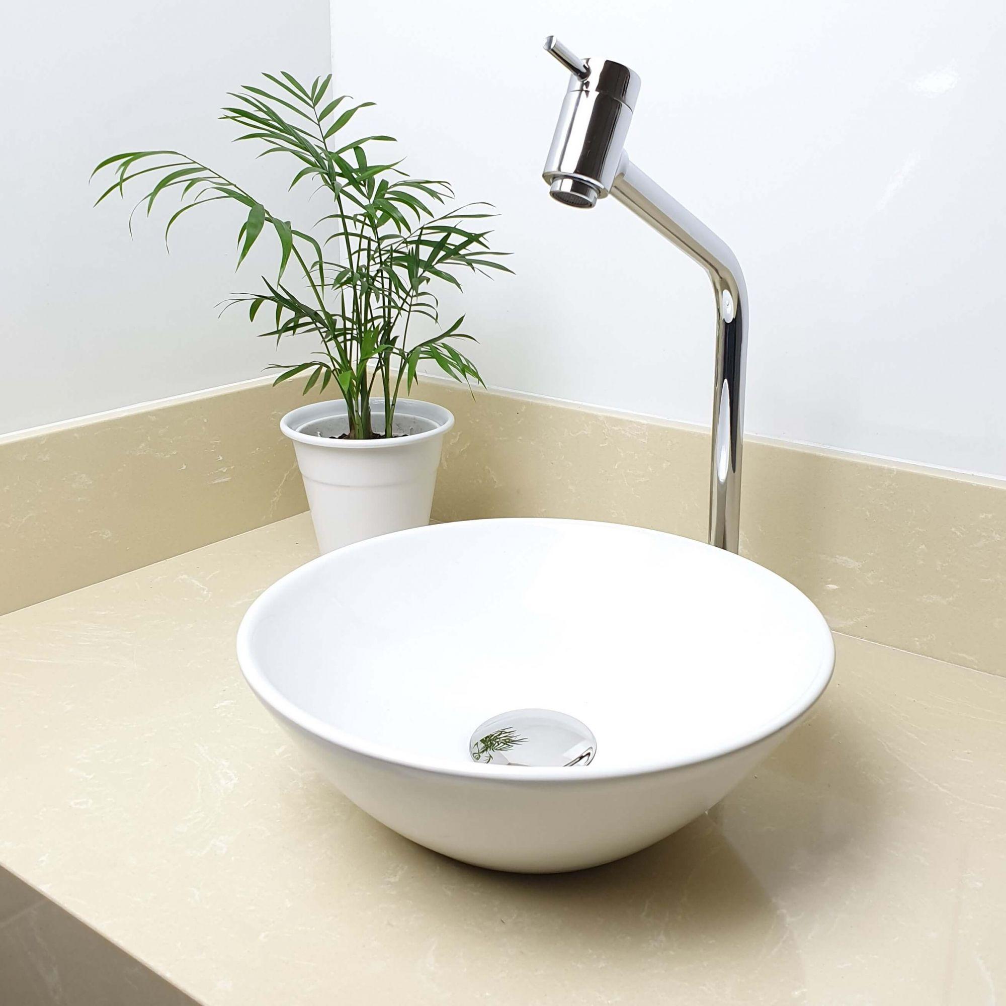 Cuba Banheiro Apoio Redonda 29x10cm com Torneira Bica Alta,  Válvula Click  Sifão e Flexível  - DOTEC SHOP