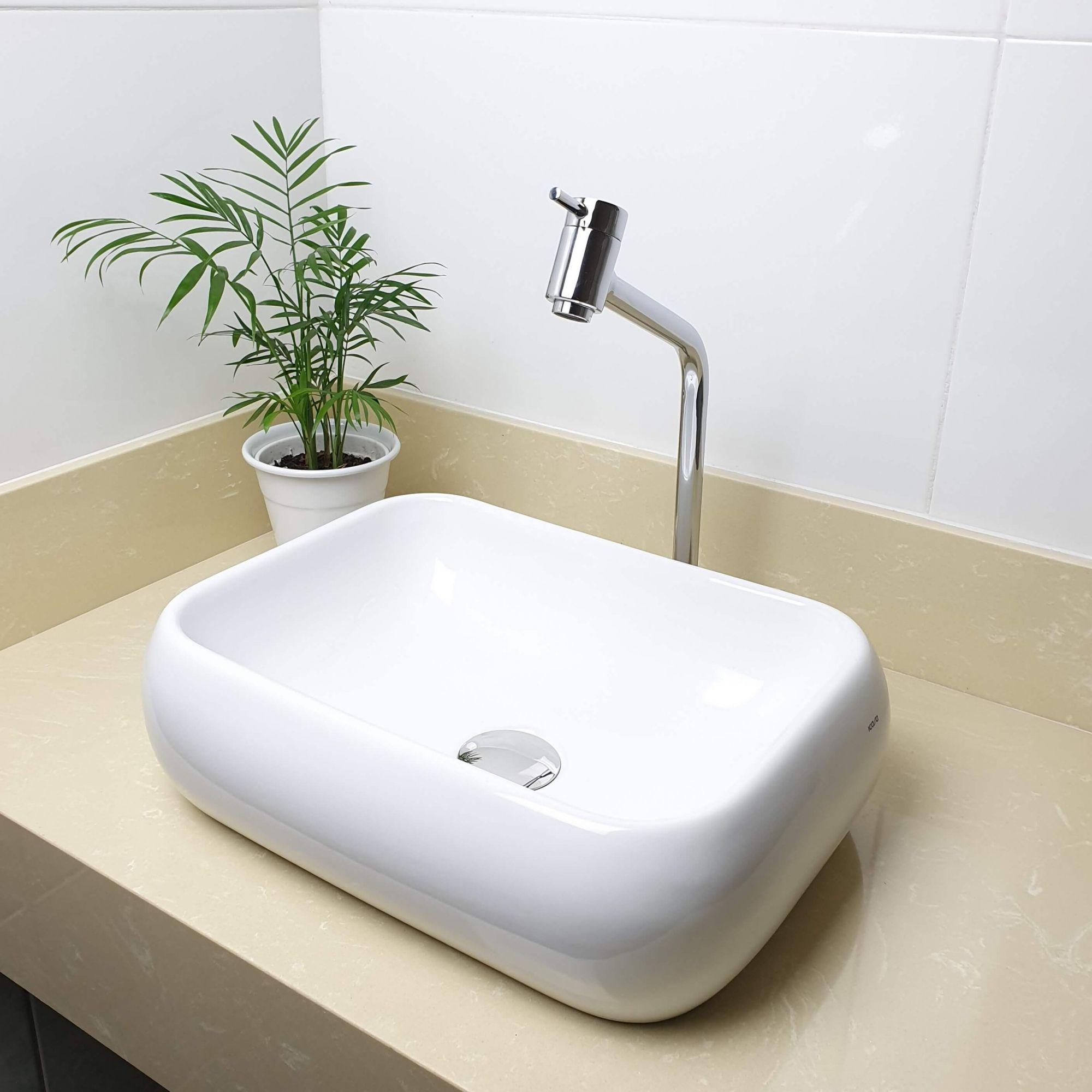 Cuba Banheiro Apoio Retangular 41x31cm com Torneira Bica Alta,  Válvula Click  Sifão e Flexível  - DOTEC SHOP