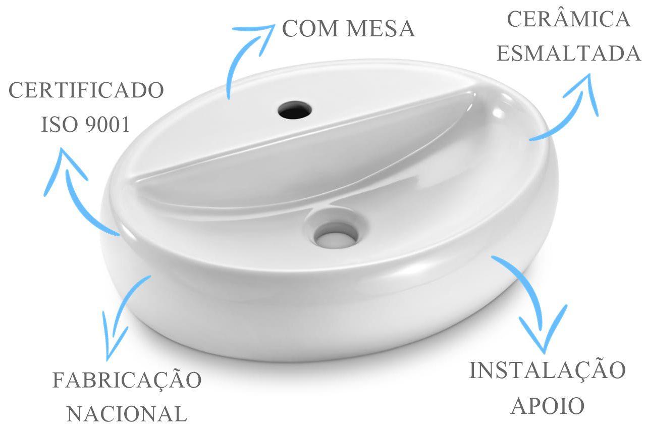 Cuba de Apoio Oval com Mesa 49x38x12cm  - DOTEC SHOP
