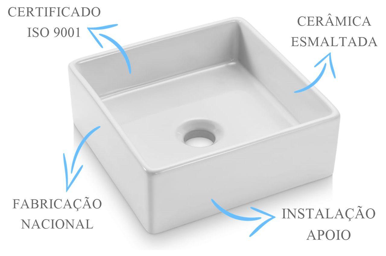 Cuba de Apoio Quadrada 30x30x11cm  - DOTEC SHOP