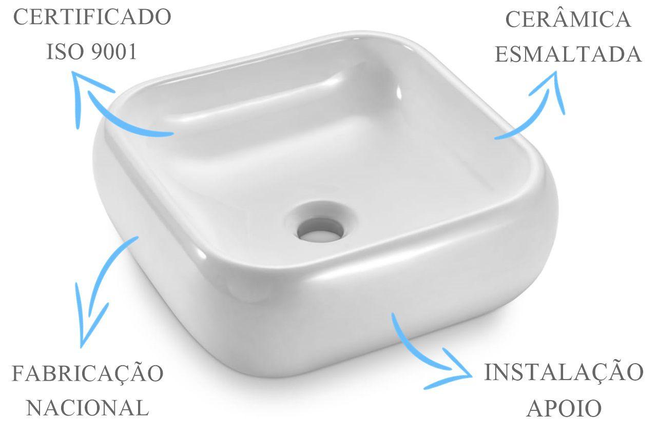 Cuba de Apoio Quadrada 37x37x12cm  - DOTEC SHOP