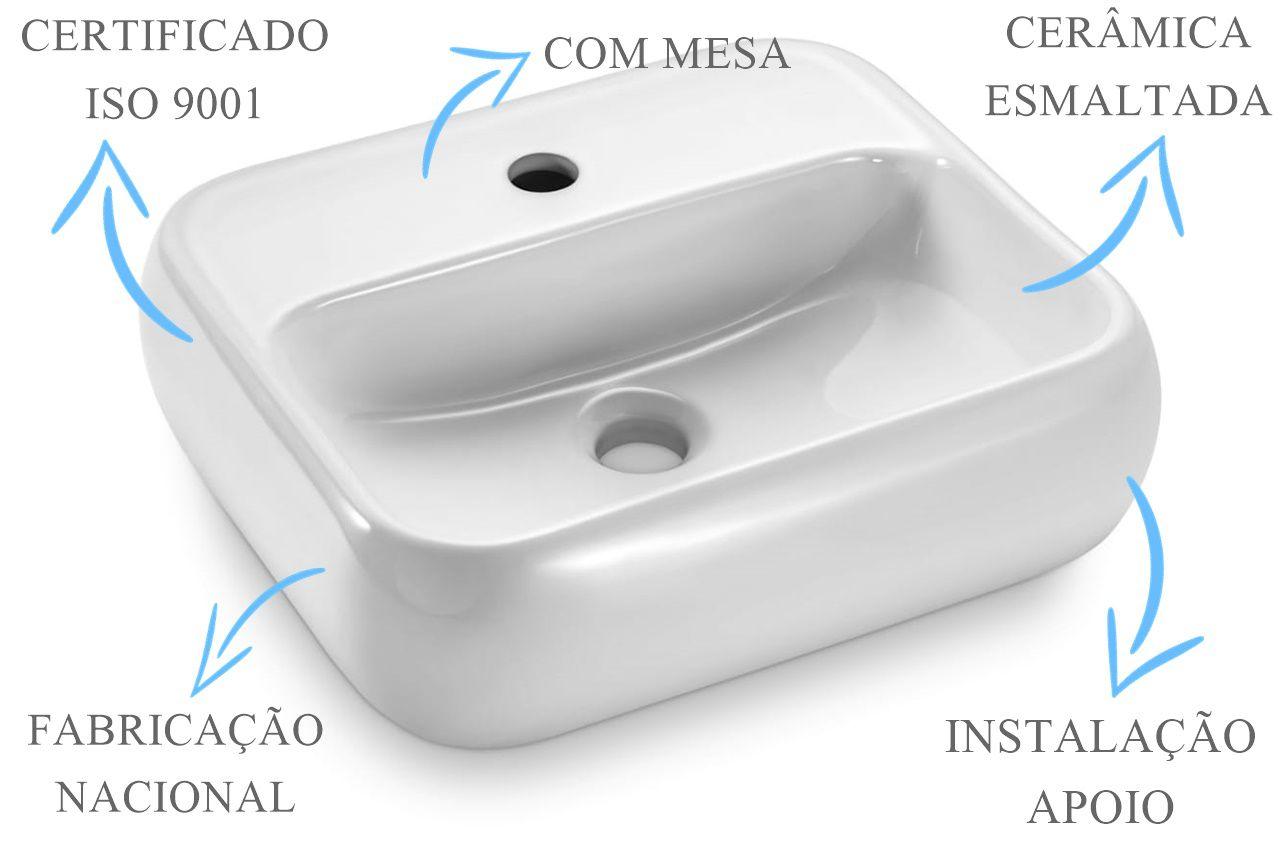 Cuba de Apoio Retangular com Mesa 43x38cm  - DOTEC SHOP