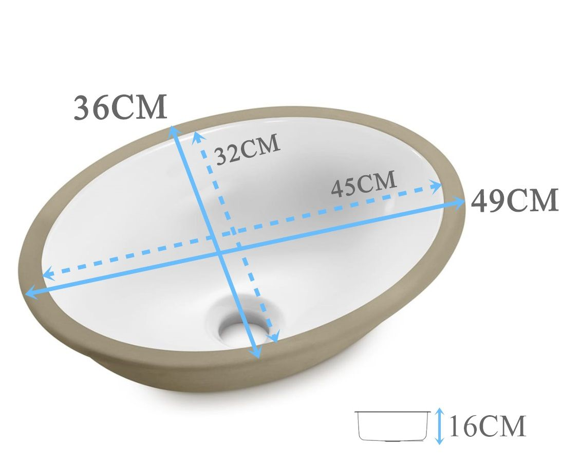 Cuba de embutir Oval 45x32x16cm