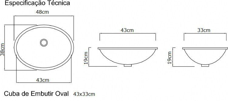 Cuba de embutir Oval  Grande  - DOTEC SHOP