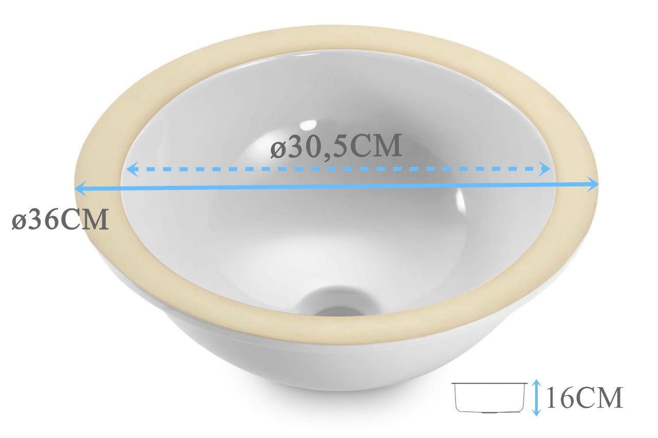 Cuba de embutir Redonda 30x16cm  - DOTEC SHOP