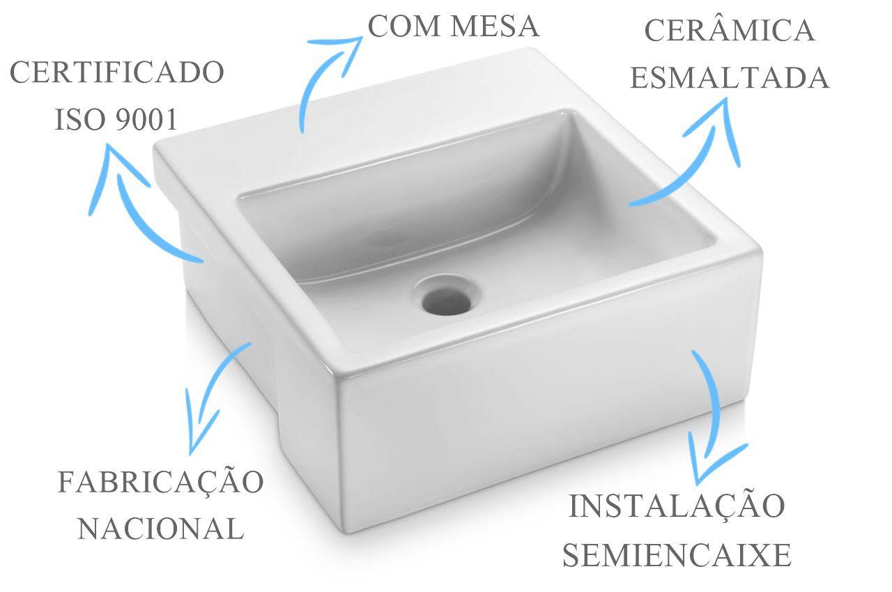 Cuba de Semi-Encaixe Quadrada com Mesa 42X43cm  - DOTEC SHOP