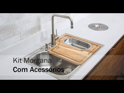 Cuba de Sobrepor Tramontina Morgana 60 FX em Aço Inox com Acabamento Acetinado com Misturador Válvula Dosador de Sabão e Cesto 69x49 cm  - DOTEC SHOP