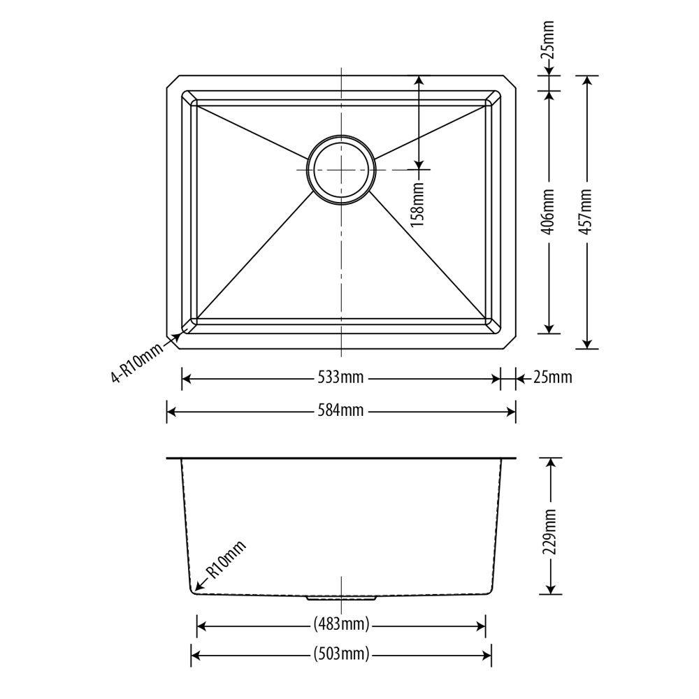 Cuba Inox  Arell 53x40x23cm  - DOTEC SHOP