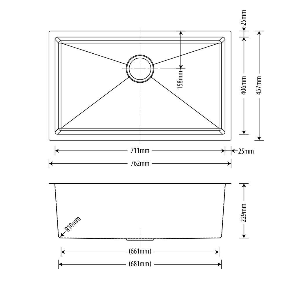 Cuba Inox  Arell 71x40x23cm  - DOTEC SHOP