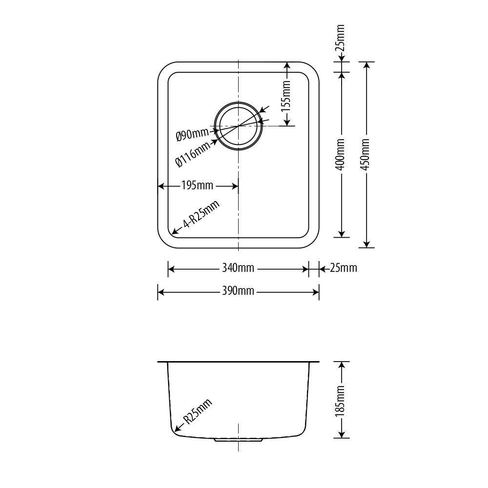 Cuba Inox Arell Fit 34x40x18,5cm  - DOTEC SHOP