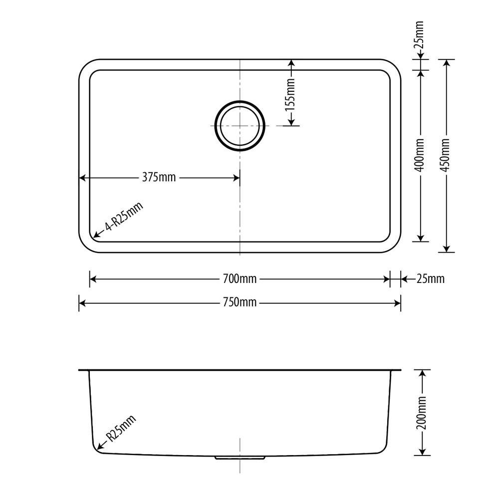 Cuba Inox Arell Fit 70x40x20cm  - DOTEC SHOP