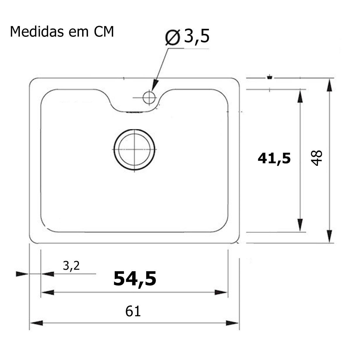Cuba Inox Bell De Embutir 54cm Com Acessórios