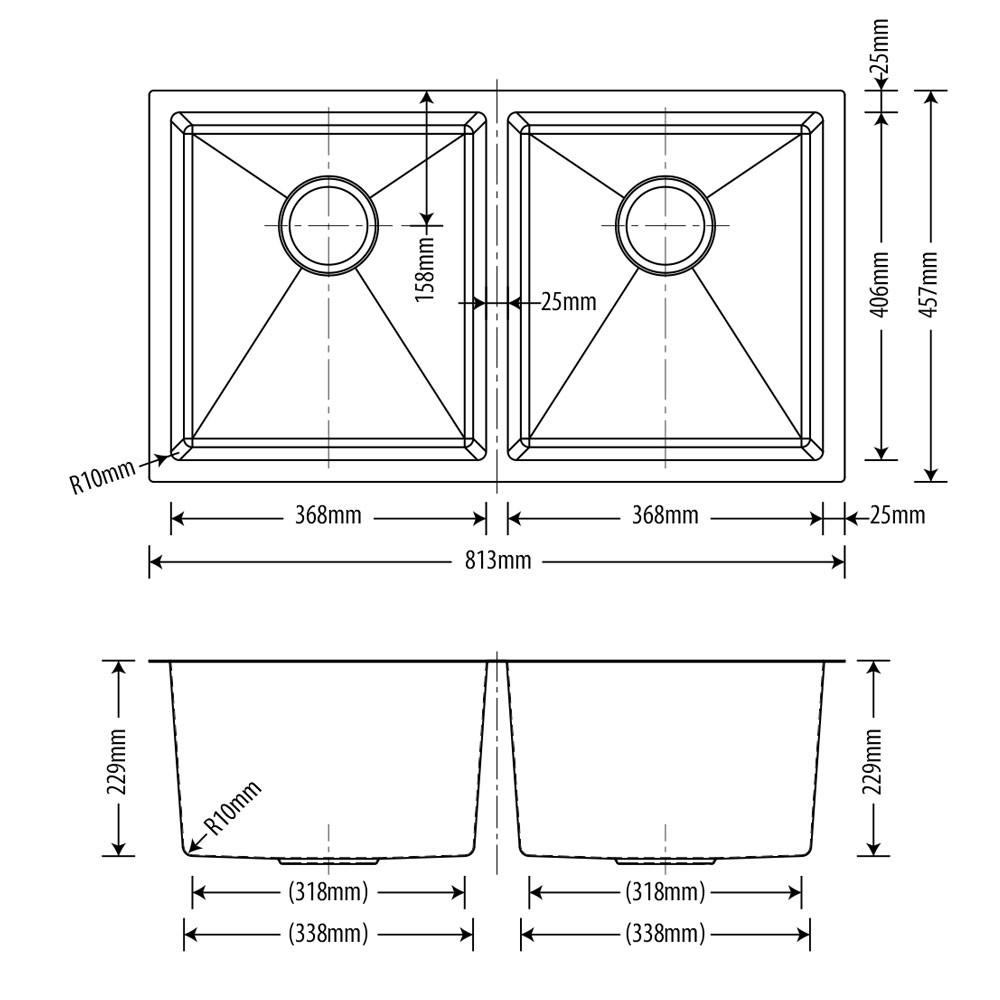 Cuba Inox Dupla Escovado 76x40x23cm  - DOTEC SHOP