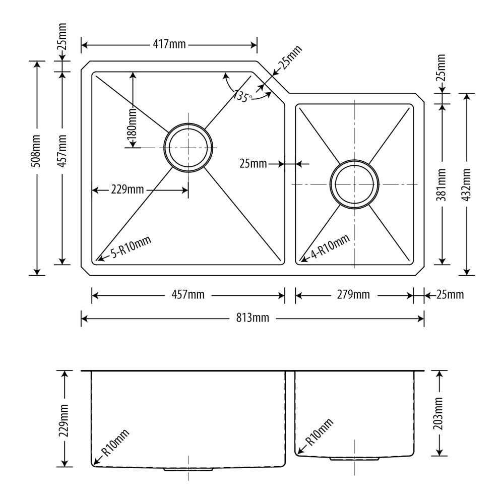Cuba Inox Dupla Escovado 76x45/38x23/20cm  - DOTEC SHOP