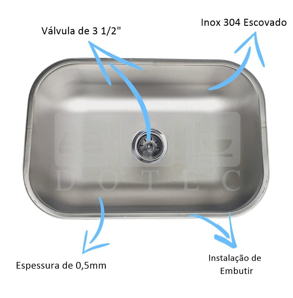 Cuba Inox Escovada N1 46x30x17cm 304  - DOTEC SHOP