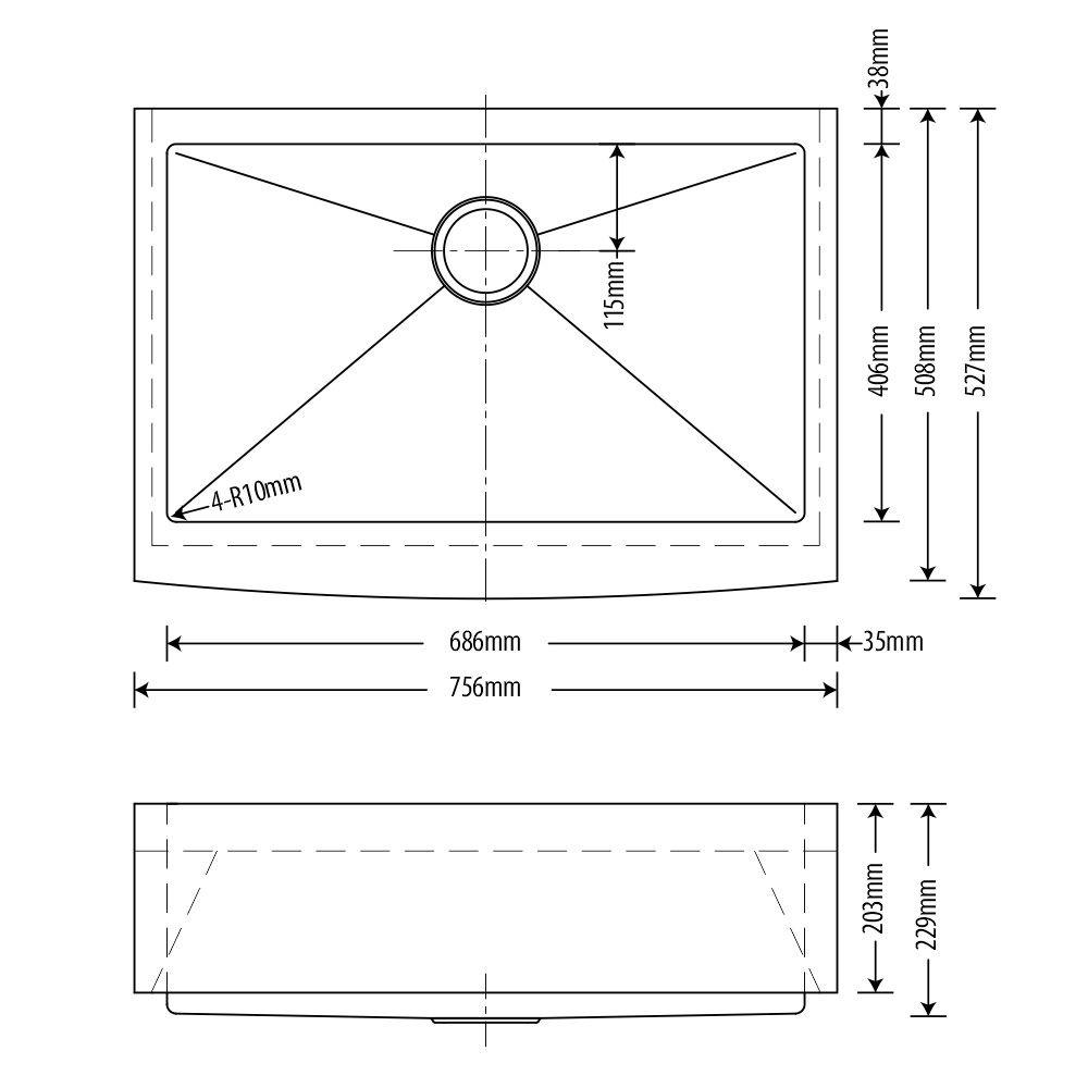 Cuba Inox Farmhouse Arell  75x53x23cm  - DOTEC SHOP