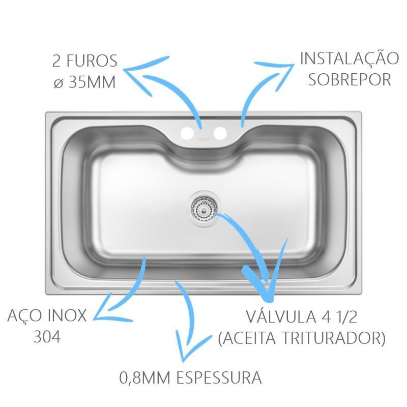 Cuba Inox Morgana 60FX Com Cesto e Dosador  - DOTEC SHOP