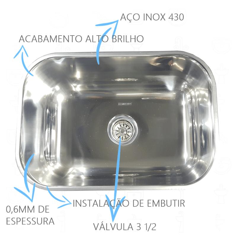 Cuba Inox N1 46x30x17cm 430 Com Torneira Gourmet Junior de Bancada  - DOTEC SHOP