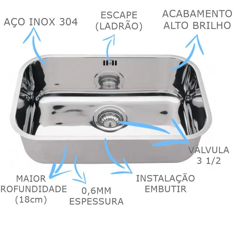 Cuba Inox N1 Alto Brilho Franke 47x30x18cm - 3 1/2