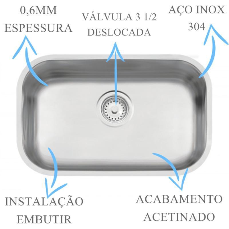 Cuba Inox N1 Prime Acetinada 47x30x17cm  - DOTEC SHOP