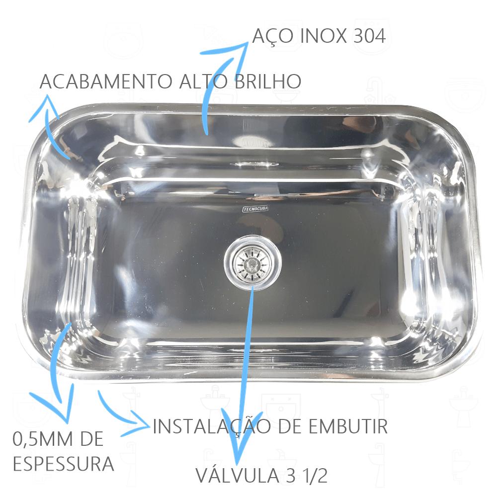 Cuba Inox N2 56x34x17cm Aço Inox 304  - DOTEC SHOP