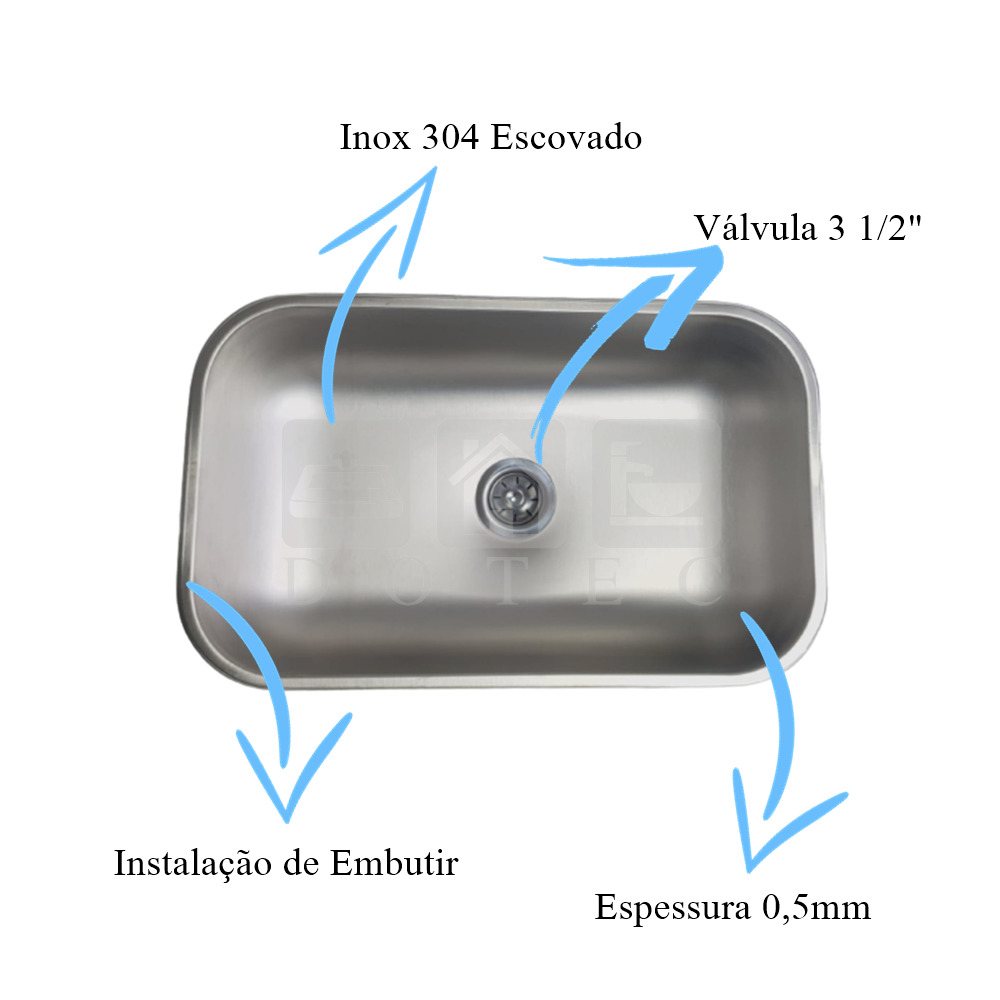 Cuba Inox N2 56x34x17cm Escovada Acetinada Aço Inox 304  - DOTEC SHOP