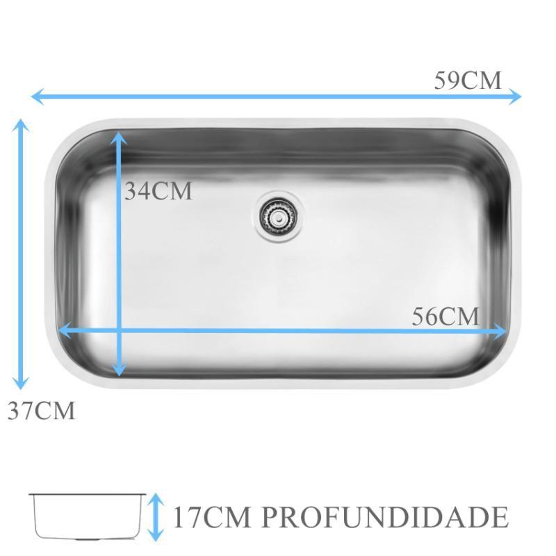 Cuba Inox N2 Prime Acetinada 56x34x17cm  - DOTEC SHOP