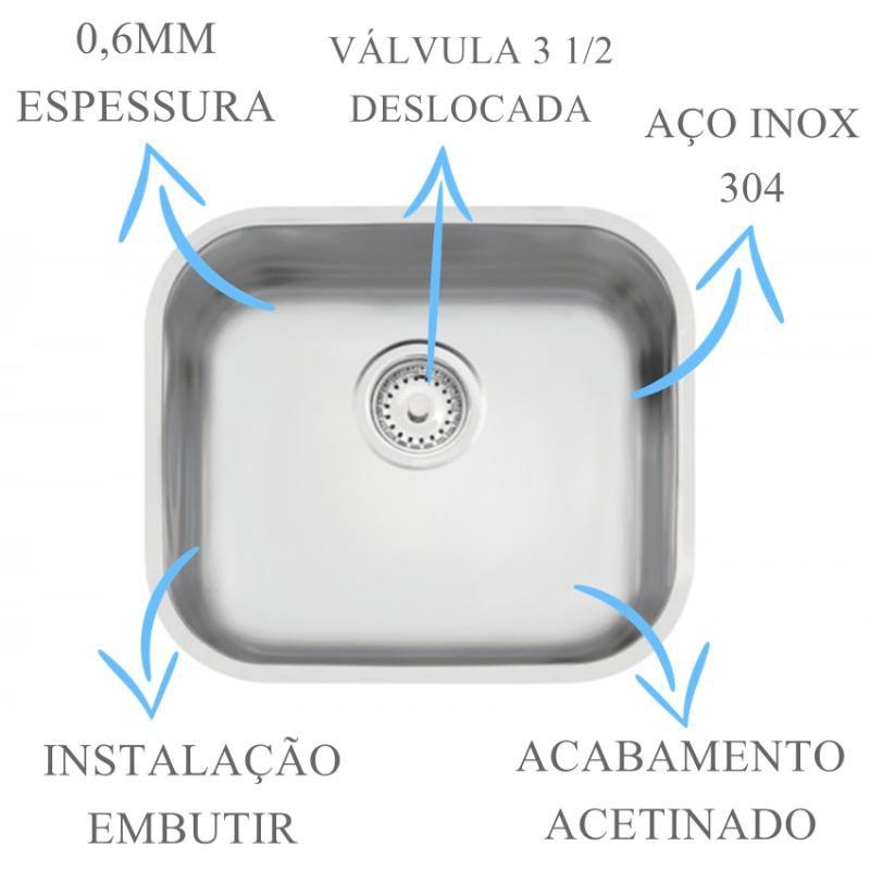 Cuba Inox N3 Prime Acetinada 40x34x17cm  - DOTEC SHOP