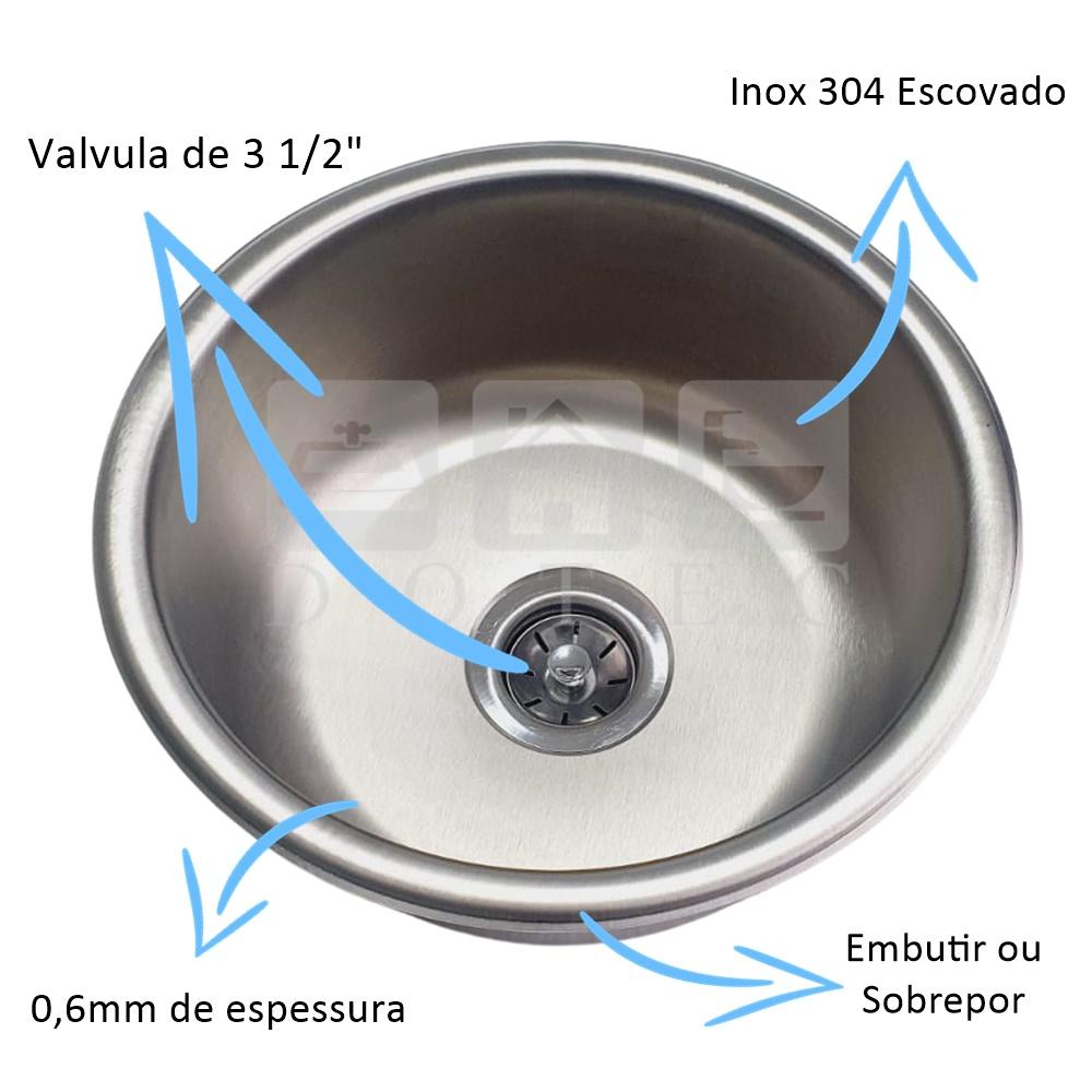 Cuba Inox Redonda Escovada de 30cm Inox 304  - DOTEC SHOP