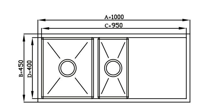Cuba Quadratino Dupla com Bancada - 100x45cm