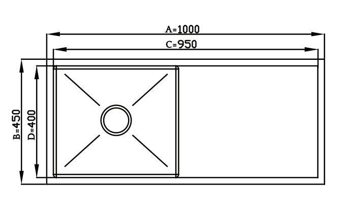 Cuba Quadratino Simples com Bancada - 100x45cm