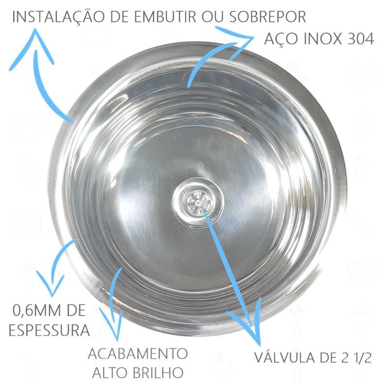 Cuba Inox Redonda de 25cm