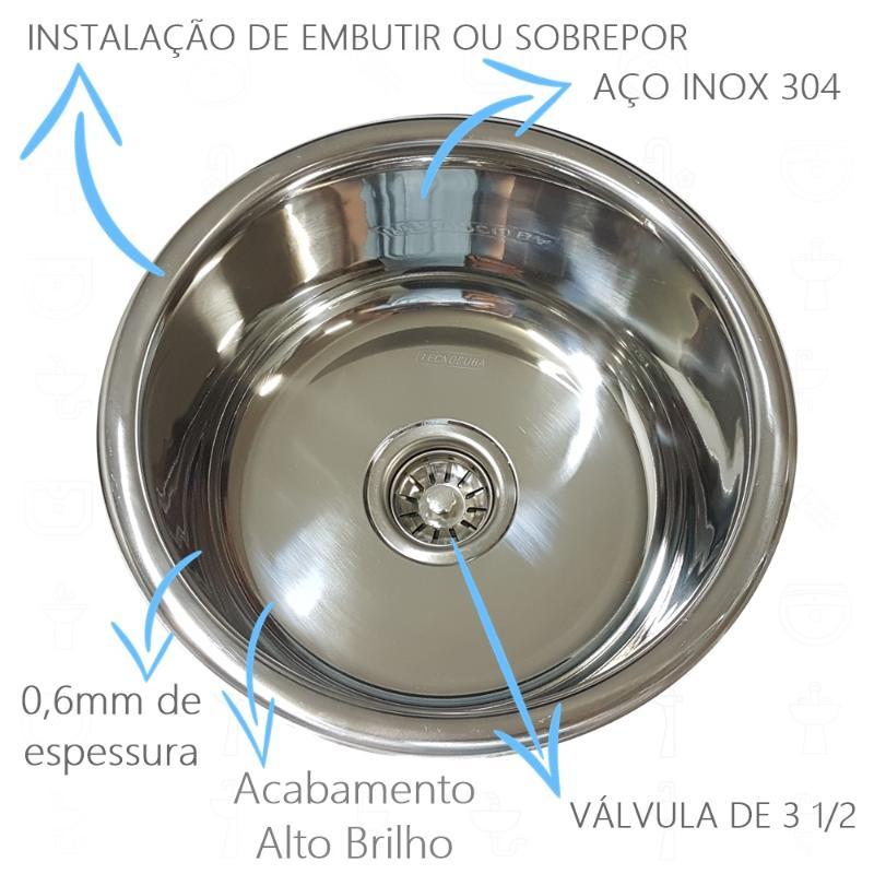 Cuba Redonda de 30cm Inox 304  - DOTEC SHOP