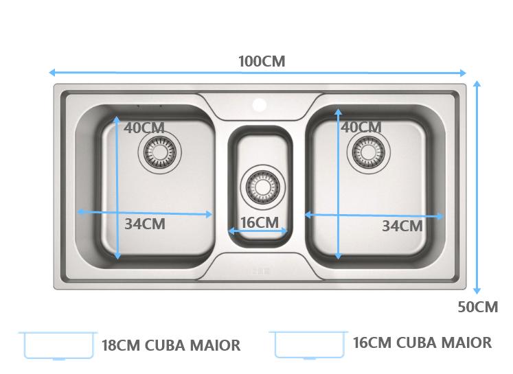 Cuba Tripla Smart Franke com acessórios SRX 670  - DOTEC SHOP