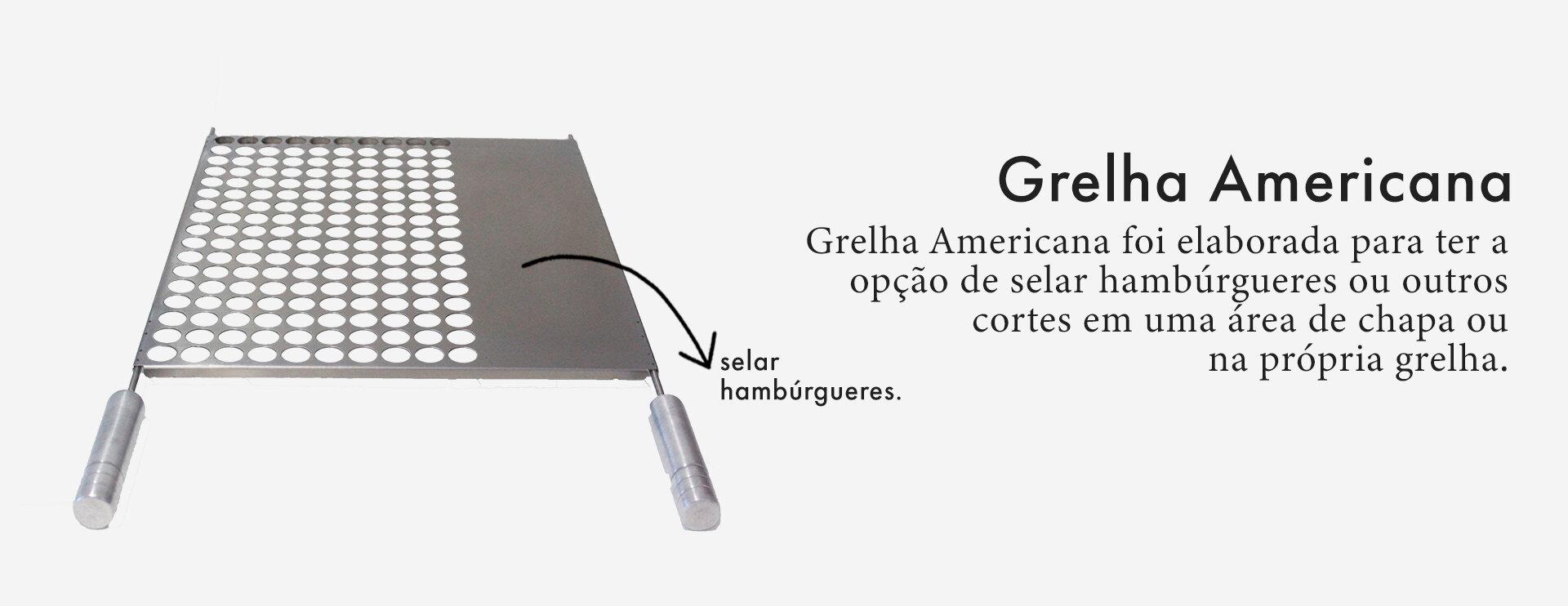 Grelha Gourmet Americana em Inox Escovado Corte a Laser com Cabo de Alumínio  - DOTEC SHOP